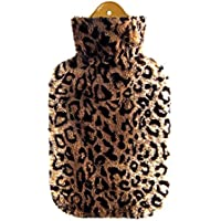 Preisvergleich für FabaCare Wärmflasche Sänger 2 L, kuscheliger Flauschbezug mit Fellmuster, Naturgummi, 1 Seite Lamellen, Gummiwärmflasche...