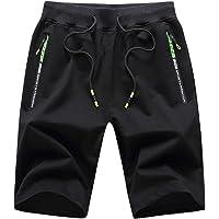 JustSun Mens Shorts Summer Casual Joggers Shorts Elasticated Waist with Zip Pockets