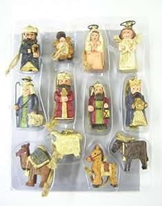 GISELA GRAHAM NATIVITY 12 PIECE SET CHRISTMAS TREE DECORATION