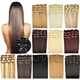 OUBO clip y extensiones natural el engrosamiento del pelo 7 trenzas 16 clips Set Top-Calidad (45 cm 55 cm