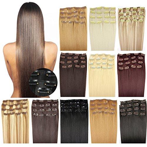 OUBO Clip in Extensions Haarteile für eine komplette ganzen Kopf Haarverlängerung Haarverdichtung glatt 135g 145g hochwertiges dickes Haar 7 Tressen 16 Clips 45cm 55cm Top -613# Helllichtblond, 45cm