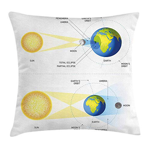 Educational Throw Pillow Cushion Cover by, Solar and Lunar Eclipse Planet Earth Sun Moon Orbit Astronomy Science, Decorative Square Accent Pillow Case, 18 X 18 Inches, Blue Green Mustard -