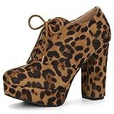 Allegra K Wildleder Blockabsatz High Heels Plateau Stiefeletten Damen Mit Absatz Braun 37 EU/Etikettengröße 7 US