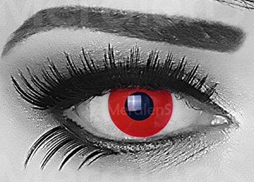 Funnylens 1 Paar farbige Crazy Fun red devil Jahres Kontaktlinsen. perfekt zu Halloween, Karneval, Fasching oder Fasnacht mit gratis Kontaktlinsenbehälter ohne (Mehr Halloween Und)