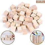 Kurtzy 30Pcs Mini Cubes en Bois - Ensemble de Petits Cubes 3 x 3cm - Parfait pour Les Tampons, Les Loisirs Créatifs et Artistiques, Les Pochoirs, Les Alphabets et Les Nombres...