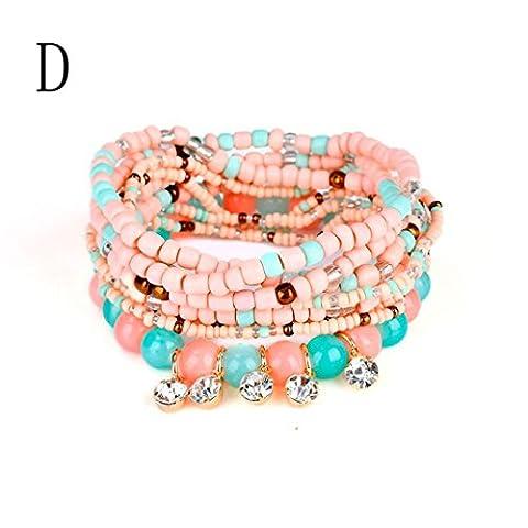 Janly® Womens Fashion 1 Set Stretch Acrylic Beaded Bohemian Lady Bangles Bracelet Female Accessories Party Jewellery (D)