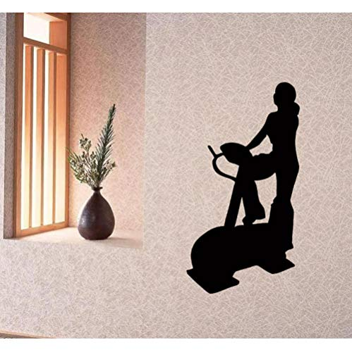 decalcomanie da muro adesivo per vinile murale gym decor sport woman cyclette 57x107cm