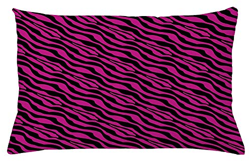 Pink Zebra Throw Pillow Cushion Cover, Wild Zebra Background Stripes Savannah African Exotic Youth Culture Hippie, Decorative Square Accent Pillow Case, 18 X 18 Inches, Magenta Onyx