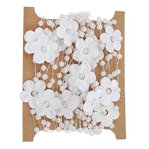 5m Satin Blumenperlen Perlenkette Angelschnur Trimmen DIY Dekor Weiß