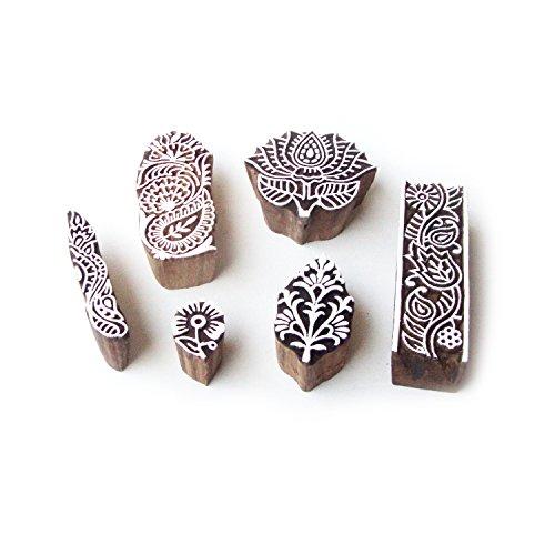 lotus-et-floral-main-sculptee-motif-bois-tampons-pour-impression-set-de-6