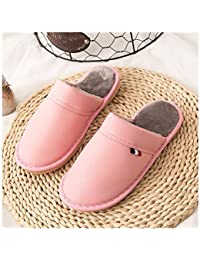 GAOHUI Slippers Los Hombres Invierno Caliente Antideslizante Impermeable PU Franela Zapatillas Amantes De La Moda Zapatos,Rosa,40-41
