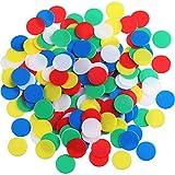 200 Piezas de Contador Colorido Marcador de Plástico Chips Bingo con Bolsa de Almacenaje para Matemáticas o Juegos (Multicolor A)