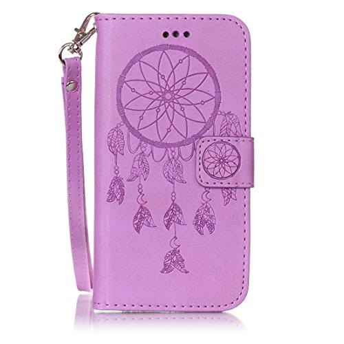 iPhone 6 Coque, iPhone 6 Etui,Ultra Slim Flip PU Cuir Portefeuille Wallet Case Cover Housse Etui avec Fonction Stand pour Apple iPhone 6 -Fleur bleue Purple Dreamcather