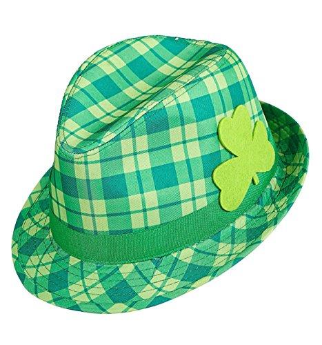 Widmann 14352 - Fedora Hut Saint Patricks Day mit irischem Kleeblatt, - Irland Halloween-kostüme Ideen,