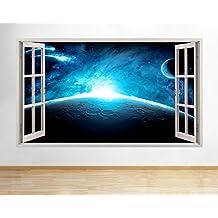 B022luna espacio Tierra Planetas niños dormitorio grande (90x 52cm) adhesivo decorativo para pared de vinilo Póster 3d (color azul)