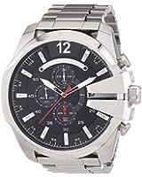 DIESEL Mega Chief Men's Quartz Watch with Black Dial and Silver Stainless Steel Bracelet DZ4308