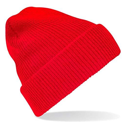 Red Classic Beanie (Beechfield - Vintage-Beanie 'Heritage Beanie' / Classic Red, Einheitsgröße)
