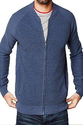 Hommes Threadbare Tallinn Fermeture Éclair Tricot Neuf Créateur Bomber Style Cardigan Tricot Bleu Jeans Marne - Bleu