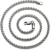 """AmyRT Jewelry 4mm Titanium Steel Wheat Silver Chain Necklaces for Men & Women 16"""" -30"""""""