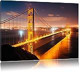 Golden Gate Bridge bei Nacht Format: 100x70 cm auf Leinwand, XXL riesige Bilder fertig gerahmt mit Keilrahmen, Kunstdruck auf Wandbild mit Rahmen, günstiger als Gemälde oder Ölbild, kein Poster oder Plakat