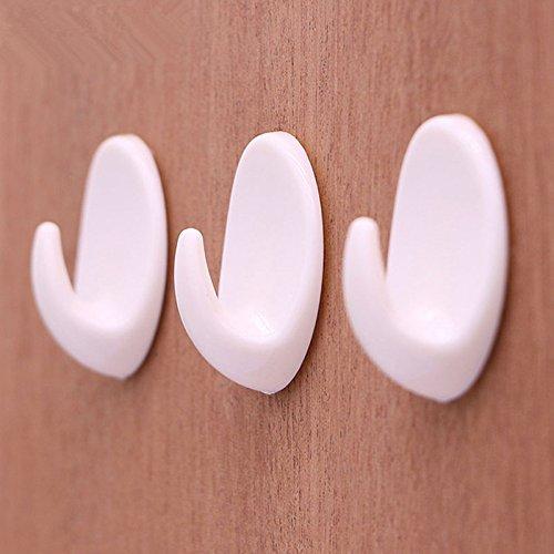 LYCOS3 5 Selbstklebende Wandhaken, Kunststoff Badetuch-Haken - Wand Türhalter Badezimmer Handtuchaufhänger - max. 2 kg Küche Bad Wand Haken, weiß, 3.9cm*2.8cm