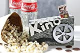 1x Spardose Kino Poly grau/weiß/silber Aufschrift Kino 14cm breit abschließbar Geschenk Film