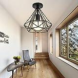 Lámpara de techo Retro Colgante Iluminación Industrial Moderna Vintage Luz Hierro Sin Cubierta de...