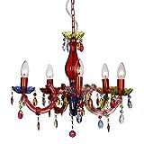 """MiniSun - lampadario moderno ma vintage, multicolore con 5 bracci - nello stile """"shabby chic"""" e Marie Therese"""