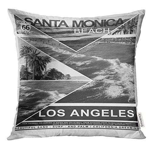 Dekokissen Kalifornien Montage Santa Monica Beach Tee Grafiken Surf Travel Dekorative Kissen Home Decor Square Kissen - Stoff Santa Monica