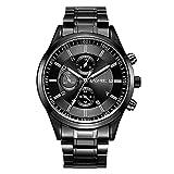 Relojes Hombre Escala del Clavo con Cronógrafo Decorativo, Correa de Acero Inoxidable Negro Relojes de Pulsera Casual, Dial Negro