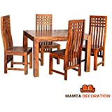 Mamta Decoration Sheesham Wood Wooden Dining Table with 4 Curvy Chairs | Home and Living Room | Teak Finish | Brown