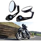 KATUR 7/20,3cm 22mm Miroir rétroviseur Moto universel en alliage d'aluminium de forme ronde Rétroviseur pour Yamaha Honda Triumph Ducati Motif Noir