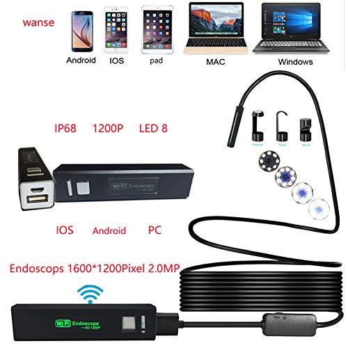 5M GuDoQi Wireless WiFi Endoscope Cam/éra DInspection 1.2 Megapixels HD Camera Endoscopique IP67 Etanche avec 8 LEDs pour Smartphone iPhone Android Tablette