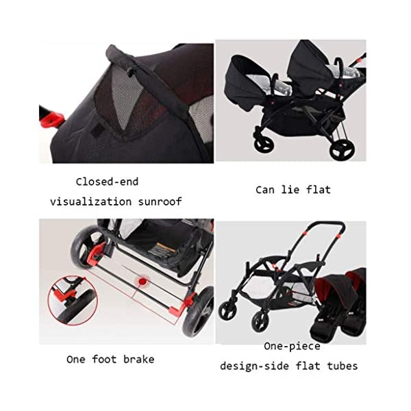 HZC Double Baby Stroller, Portable Folding Infant Pushchair with 5-Point Safety Harness, for Newborn and Toddler (Color : Gray) HZC Suitable for baby strollers from birth to 25 kg, made of high-quality aluminum alloy, each baby stroller is pressure tested to provide safety for every baby. Lightweight and compact Travel System ideal for everyday use or travel. One-hand fold mechanism lets you easily fold the pushchair. 5