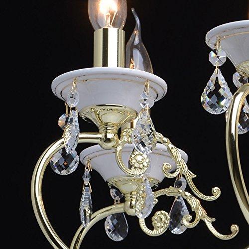 Goldfarbig und weiß Kronleuchter  Kristall 8 flammig Wohnzimmer mit Kerzen - 7