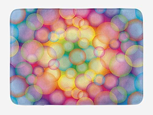 tgyew Modern Bath Mat, Colorful Hazy Balls Circular Hoops Bubbles Vibrant Rainbow Style Dreamy Art Print, Plush Bathroom Decor Mat with Non Slip Backing, 23.6 W X 15.7 W Inches, Multicolor - Floral Print Bubble