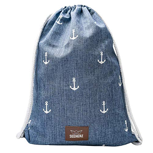 Seeherz Turnbeutel blau mit Anker Print | leicht, robust, wasserabweisend, extra dicke Kordel aus Baumwolle, veganes Kunstleder-Patch, ohne Plastik-Verpackung | Sportbeutel unisex für Damen und Herren