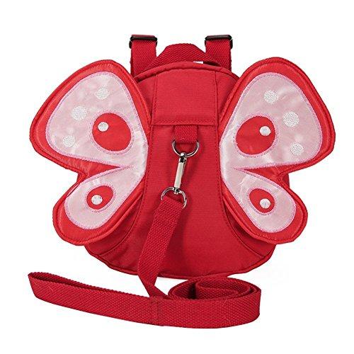 Babyhugs® Baby Kleinkind Sicherheit Gurt und Rucksack und Zügel–Rot Schmetterling mit Cute Flügel (Kleinkind Schmetterlings Flügeln)