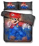 DCWE Super Mario Set di Biancheria da Letto per Bambini, con Copripiumino e Federa, 100% Microfibra, Stampa 3D Digitale, 2/3 Pezzi, 10, 220X260CM