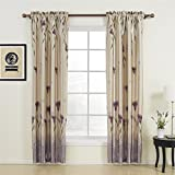 TWOPAGES® Floral Polyester Purple Rod Pocket Curtains Drapes ( Set of 2 Panels ) 50 Inch Width by 63 Inch Length