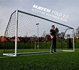 QUICKPLAY Pro Match-Fold Butée de Football 5.6 x 1.9M Portable avec Sac de Transport [Objectif Unique] Mise en Place Rapide du But de Football Pliable pour Les Clubs