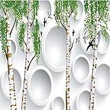 Fototapete 3D Effekt Tapete Handgemalte Kleine Weiße Pappel Der Schwalbe Vliestapete 3D Wallpaper Moderne Wanddeko Wandbilder