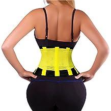 Potente vita trimmer perdita di peso cintura elastica regolabile posteriore supporto caldo cintura per donne, uomini Premium addominale pancia Wrap e invisibile waist Trainer (nero + giallo, L), L