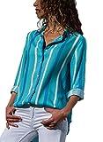 FIYOTE Damen Kariertes Langarm Hemd Karohemd Hemdkleid Langarmshirt Blusenkleid Oversize Cardigan Top Shirtkleid Karo Kleid Hellblau M