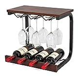 Soduku - Botellero de pared de metal y madera hecho a mano con 4 jaulas para botellas y 6 copas de vino de madera de nogal