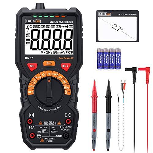 Multimeter Digital Autorange 6000 Counts True RMS für AC DC Spannung Strom Widerstand Durchgangsprüfung Temperatur mit Großer LCD Bildschirm Hintergrundbeleuchtung - TACKLIFE DM07
