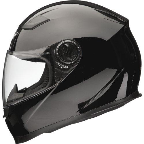 Shox Casque de moto solide noir Gloss Black moyen