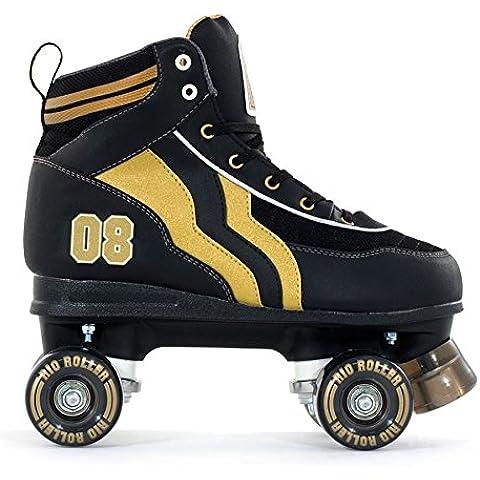 SFR nuevo Río Varsity–adultos/para hombre/mujer patines de cuatro ruedas/negro/oro, color negro, tamaño 8 UK