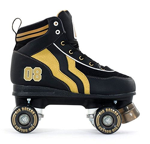 SFR Rio Varsity–patines de cuatro ruedas para adultos, para hombre/mujer, color negro/oro, color negro, tamaño 40,5 EU