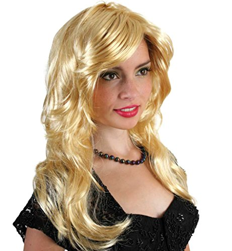 Lang Heather Kostüm - Perücke Heather Karneval hübsche Blonde Lange Haare prädistiniert für Karneval als Accessoire zu Ihrem Kostüm